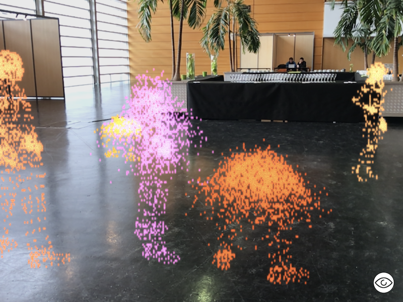 three.js animated people in a building foyer
